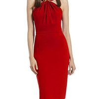 Red Halter High Waist Pencil Bodycon Midi Dress