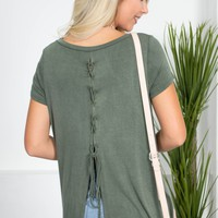Olive Green Lace-Up Top