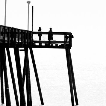 Fishing Pier Black and White,Ocean City Maryland Photo, Boardwalk Photography, Ocean, Beach, Sea, Wall Art, Home, Bath Decor, Contrast