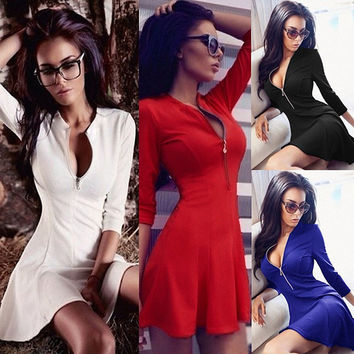 Deep V Neck Women Flare Dress 2016 New Arrival Spring 3/4 Sleeve Sexy Mini Dress Plus Size Zipper Up Party Dresses Vestidos
