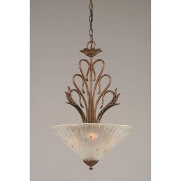 Toltec Lighting 204-BRZ-711 Swan Bronze Three-Light Bowl Pendant with Frosted Crystal Glass Shade