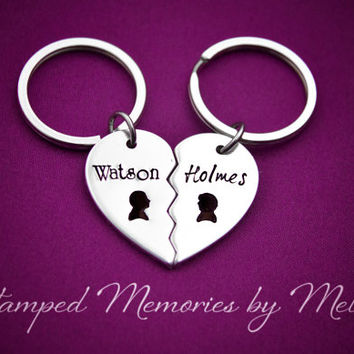 Watson & Holmes - Hand Stamped Fangirl Key Chain Set - Sherlock - Heart Keychain - Fandom Gift - Nerd Life - Fan Girl - Best Friend Matching