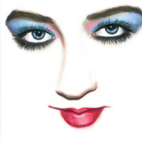 blue eyed pretty womans face original art color pencil drawing red lips makeup