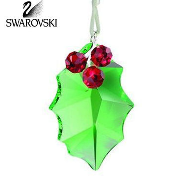 Swarovski Crystal Christmas Figurine Ornament HOLLY LEAF ORNAMENT #5103222