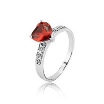 Solid 925 Jewelry Gifts For Woman Classic Ruby CZ Diamond Heart Rings For Lady Sterling Silver Jewelry (Silveren SI0528)