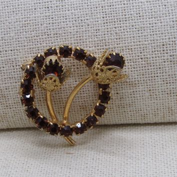 "Vintage Gold Rhinestone Circle Brooch, Floral Stem Accents, 1.25"", Gold Tone, 1960's"