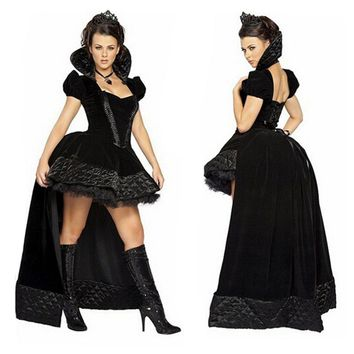 Halloween  Carnival  Women  Black  Witch  Costume  Vampi