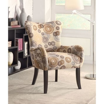 Coaster Furniture 902052 Beige Circle Print Accent Chair with Nailhead Trimming