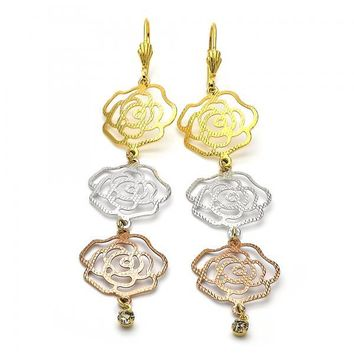 Gold Layered 5.106.009 Long Earring, Flower Design, with White Cubic Zirconia, Diamond Cutting Finish, Tri Tone