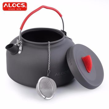 ALOCS Portable Outdoor Cookware 1.4L Aluminum Outdoor Kettle Camping Picnic Teapot Coffee Pot with 1pc Stainless Tea filter Ball