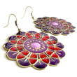 Mandala Earrings - Red and Purple