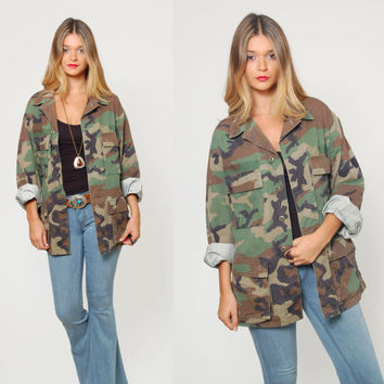 Vintage 90s CAMOUFLAGE Jacket Military Army Jacket Grunge Oversized Unisex FATIGUE Jacket