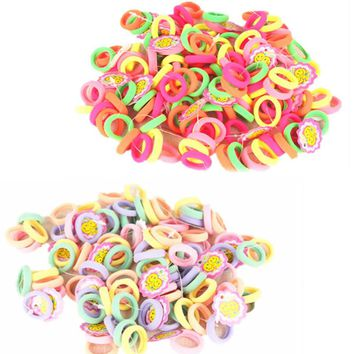 50 Pcs/Lot Candy Color 2.5cm diameter Seamless Elastic Ropes Girls' Hair Bands Kids Hair Accessories