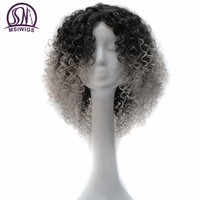 MSIWIGS Short Synthetic Afro Curly Wigs 8 Colors Light Grey Brown Ombre Wig for Black Women Blue Purple Natural Hair