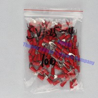 SV1.25-4 Red Furcate Fork Spade 22~16AWG Wire Crimp pressed terminals Cable Wire Connector 100PCS/Pack SV1-4 SV