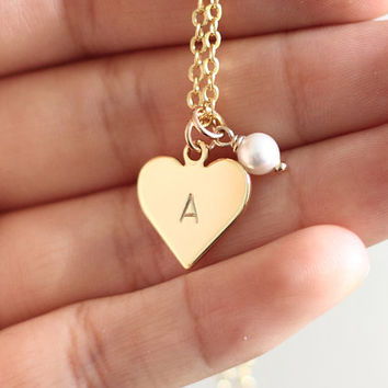 Gold Heart Initial Necklace With Pearl, Initial Charm Necklace