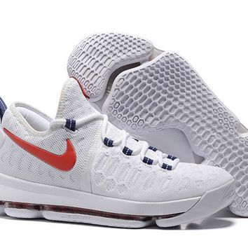 auguau Nike Men's Durant Zoom KD 9 Knit Mid-High Basketball Shoes White Red 40-46