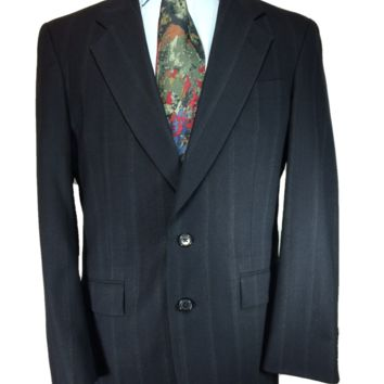 Christian Dior Monsieur Two Button Sport Coat Black Striped - 40R