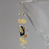 Millefiore, ambrolite and howlite silver earrings