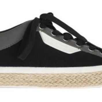 Dolce & Gabbana Black Gray Canvas Leather Logo Sneakers