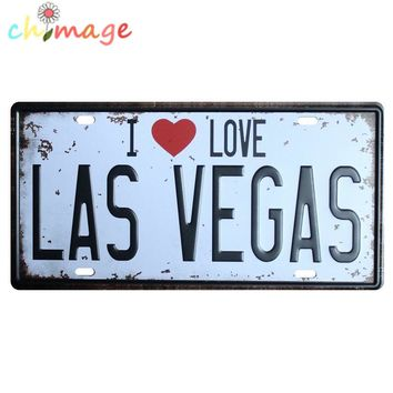 I LOVE LAS VEGAS CAR LICENSE PLATE Vintage Tin