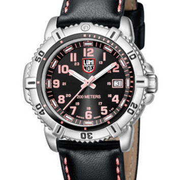 Luminox Ladies 38mm Steel Colormark - Black Dial w/ Pink - Black Leather Strap