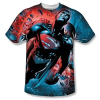DC Comics Superman Red Sun Adult Sublimated White T-Shirt