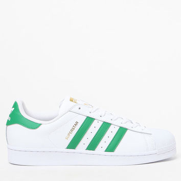 adidas Superstar White and Green Shoes at PacSun.com