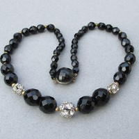 Black Czech Glass Bead & Rhinestone Disco Ball 1950's Vintage Choker Necklace