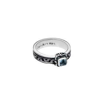 Victorian Sterling Silver And Blue Topaz Spinner Ring