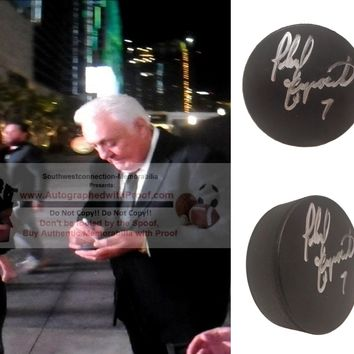 Phil Esposito Autographed Ice Hockey Puck, Boston Bruins, Chicago Blackhawks, Proof Photo