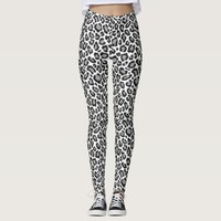Black and Grey Leopard Patterns Women's Leggings