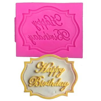 Happy Birthday shape fondant silicone mold for kitchen baking chocolate pastry candy making cupcake lace decoration tools F-0070