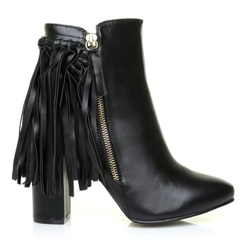 JORDAN Black PU Leather Block Heel Fringe Ankle Boots