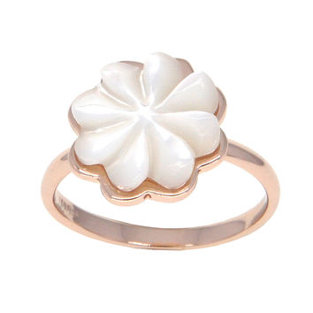 Dear Deer Rose Gold Plated White Flower Shell Cocktail Ring
