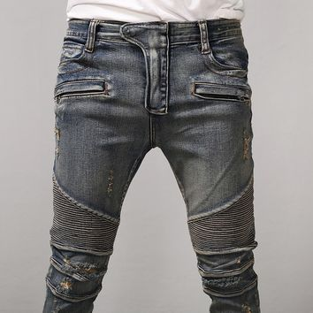 Mens BM Stretch Pintuck Hard Washed Skinny Biker Jeans at Fabrixquare