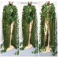 Mother Earth Poison Ivy Cape Costume Rave Wear Cosplay Halloween