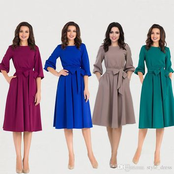 Women Midi Dress Autumn Winter Casual 3/4 Sleeve Bow Belted Pockets Swing Work Office Dress