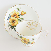 REGENCY Yellow Roses Get Well Soon Tea Cup and Saucer
