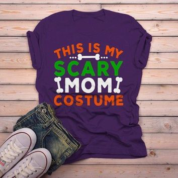 Men's Funny Halloween T Shirt This Is My Scary Mom Costume Tee Bones Mom Shirts