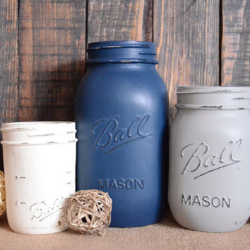 Shabby Chic Painted Mason Jars - Set of 3 - Quart, Pint, Half Pint Sizes - Navy - Grey - Cream - Centerpiece - Vase