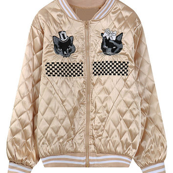 Golden Cute Cat And Check Embroidery Quilted Bomber Jacket
