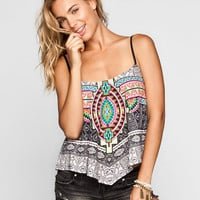 Full Tilt Medallion Print Womens Hanky Swing Top Multi  In Sizes
