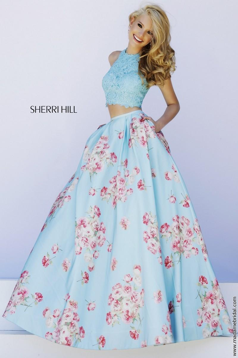 Sherri Hill 32216 Blue Two Piece Lace Top From Madame Bridal