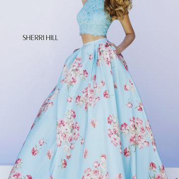 Sherri Hill 32216 Blue Two-Piece Lace Top Jewel Neckline Floral Skirt