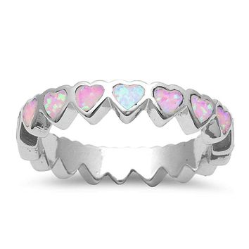 Pink Opal Hearts Eternity Band