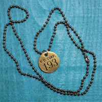 Vintage Brass Round KC Tool Tag 193 on Smoky Hardware Ball Chain