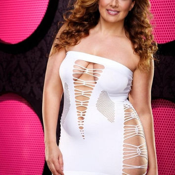 Backroom White Shredded Mini Dress in OSXL