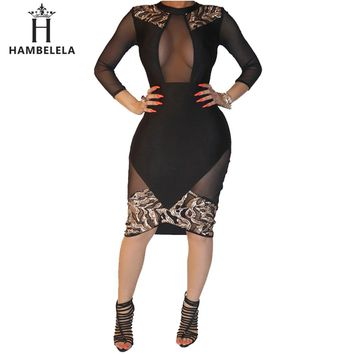 HAMBELELA Women Black Sexy Club Bodycon Dress Sheer Mesh Patchwork Sequined Dress Vintage Long Sleeve Bandage Party Dress