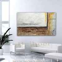 "XXL Abstract painting original 60"" huge painting gray umber modern acrylic abstract art by L.Beiboer - FREE SHIPPING"